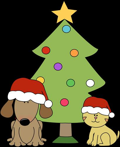 Cat and Dog in front of Christmas tree